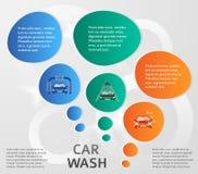 Auto-Wäsche-Service-Hintergrund-Seite-Broschüre Stockfotografie