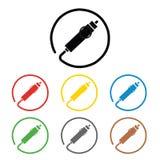 Auto włączników znaki ustawiają, na barwionych okręgach na bielu, Set coloured 8 ikona Płaska projekt ilustracja 12 V papieros royalty ilustracja