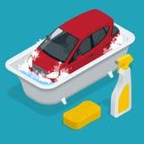 Auto washing De dienst van de autowasserette Auto met Autowasseretteteken Vlakke 3d isometrische vectorillustratie Royalty-vrije Stock Afbeeldingen