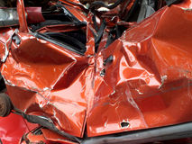 Auto waste. Destroyed car at the junkyard, Photography Stock Image