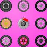 Auto wheels. Vector simple illustration of different wheels Royalty Free Stock Images