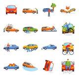 Auto wypadku zwijania kraksy samochodowej miasta uliczna wektorowa ilustracja Zdjęcia Royalty Free