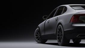 Auto in zwarte steenfilm die wordt verpakt het 3d teruggeven Stock Afbeeldingen