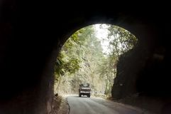 Autoaandrijving door de Weg Stedelijke Tunnel Weergeven van slecht aangestoken tunnel van een snel bewegende auto op een zonnige  stock fotografie