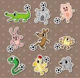 Autoadesivi animali di gioco del calcio/autoadesivi sfera di calcio Fotografia Stock Libera da Diritti