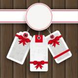 Autoadesivi bianchi di prezzi di Natale dell'emblema di legno Fotografia Stock Libera da Diritti