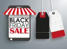 Autoadesivi Black Friday di prezzi del negozio 2 di Smartphone Fotografie Stock Libere da Diritti
