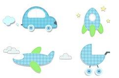 Autoadesivi blu del plaid del bambino dell'automobile, razzo, passeggiatore, aeroplano illustrazione vettoriale