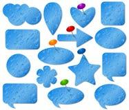 Autoadesivi blu messi con effetto di vetro appannato Fotografia Stock