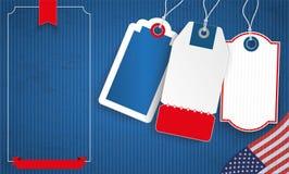 Autoadesivi d'annata blu di prezzi della bandiera 3 degli Stati Uniti della struttura della copertura Fotografie Stock