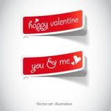 Autoadesivi dei biglietti di S. Valentino per la pagina (di Web) Immagini Stock