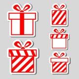 Autoadesivi dei contenitori di regalo impostati Fotografia Stock Libera da Diritti