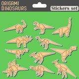 Autoadesivi dei dinosauri di origami messi Immagine Stock Libera da Diritti