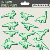 Autoadesivi dei dinosauri di origami messi Immagini Stock