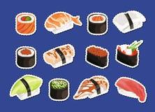 Autoadesivi dei sushi del fumetto di vettore messi isolati Fotografia Stock Libera da Diritti