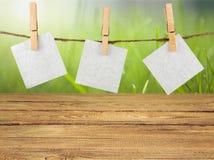 Autoadesivi della carta in bianco che appendono sulla corda su fondo Immagine Stock