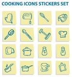 Autoadesivi delle icone dell'alimento e del cuoco impostati Fotografie Stock Libere da Diritti