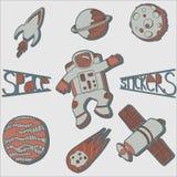 Autoadesivi dello spazio messi Fotografie Stock