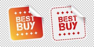 Autoadesivi di Best Buy Illustrazione di vettore su fondo isolato Fotografia Stock
