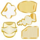 Autoadesivi di carta incorniciati oro con gli angoli della sbucciatura Fotografia Stock