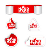 Autoadesivi di carta stabiliti di rosso fatti a mano Immagini Stock