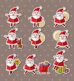 Autoadesivi di natale del Babbo Natale del fumetto Fotografia Stock Libera da Diritti