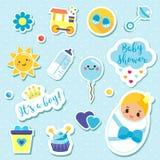 Autoadesivi di un ragazzo del ` s ha messo nei colori blu Bambini, elementi di progettazione dei bambini per l'album per ritagli  Immagine Stock