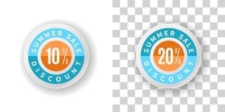 Autoadesivi di vendita di estate uno sconto di 10 e 20 per cento con il blu e il ora Immagini Stock Libere da Diritti