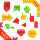 Autoadesivi di vendita e modelli delle insegne messi Fotografie Stock Libere da Diritti