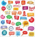 Autoadesivi di vendita di promo e progettazione moderna della raccolta delle etichette illustrazione di stock