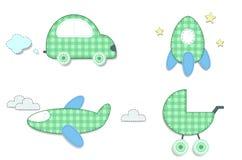 Autoadesivi di verde del plaid del bambino dell'automobile, razzo, passeggiatore, aeroplano royalty illustrazione gratis