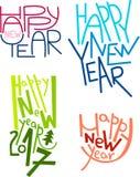 Autoadesivi disegnati a mano dell'iscrizione del buon anno, decorazioni di inverno, sovrapposizioni della foto, manifesti, inviti Fotografia Stock Libera da Diritti