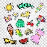 Autoadesivi, distintivi e toppe di modo della ragazza dell'adolescente Scarabocchio di ragazza con i vestiti, il gelato e l'uccel illustrazione di stock