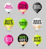 Autoadesivi, distintivi, insegne Insieme delle offerte astratte di vendita Fotografia Stock Libera da Diritti