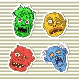 Autoadesivi divertenti con gli zombie di scarabocchio Immagine Stock