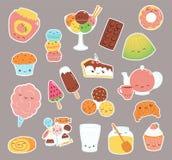 Autoadesivi dolci dell'alimento di Kawaii messi illustrazione vettoriale