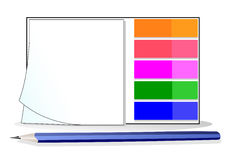 Autoadesivi e matita Immagine Stock
