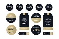 Autoadesivi ed etichette neri di prezzi di venerdì Vendita di vendita di ferie di inverno di vettore Fotografia Stock