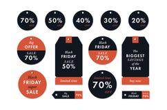 Autoadesivi ed etichette neri di prezzi di venerdì Vendita di vendita di ferie di inverno di vettore Fotografia Stock Libera da Diritti