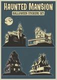 Autoadesivi frequentati di Halloween del palazzo messi Royalty Illustrazione gratis