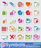 Autoadesivi icona e bottoni di simboli Fotografia Stock