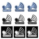 Autoadesivi liberi di zona di Wifi qui messi Illustrazione di Stock