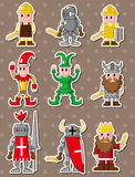 Autoadesivi medioevali della gente del fumetto Fotografia Stock