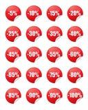 Autoadesivi rossi di sconto Fotografia Stock Libera da Diritti