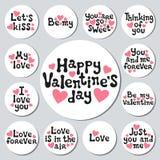 Autoadesivi rotondi di giorno di biglietti di S. Valentino messi Distintivi romantici delle etichette Elemento decorativo disegna Fotografia Stock Libera da Diritti