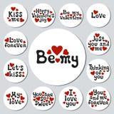 Autoadesivi rotondi di giorno di biglietti di S. Valentino messi Distintivi romantici delle etichette Elemento decorativo disegna Immagini Stock