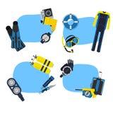 Autoadesivi subacquei di immersione subacquea di vettore illustrazione di stock
