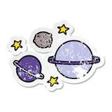autoadesivo afflitto dei pianeti di un fumetto illustrazione di stock