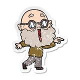autoadesivo afflitto di un uomo allegro del fumetto con la barba che indica dito illustrazione vettoriale