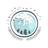 Autoadesivo blu di Cat Fairy Tale Character Girly nel telaio rotondo Immagine Stock Libera da Diritti